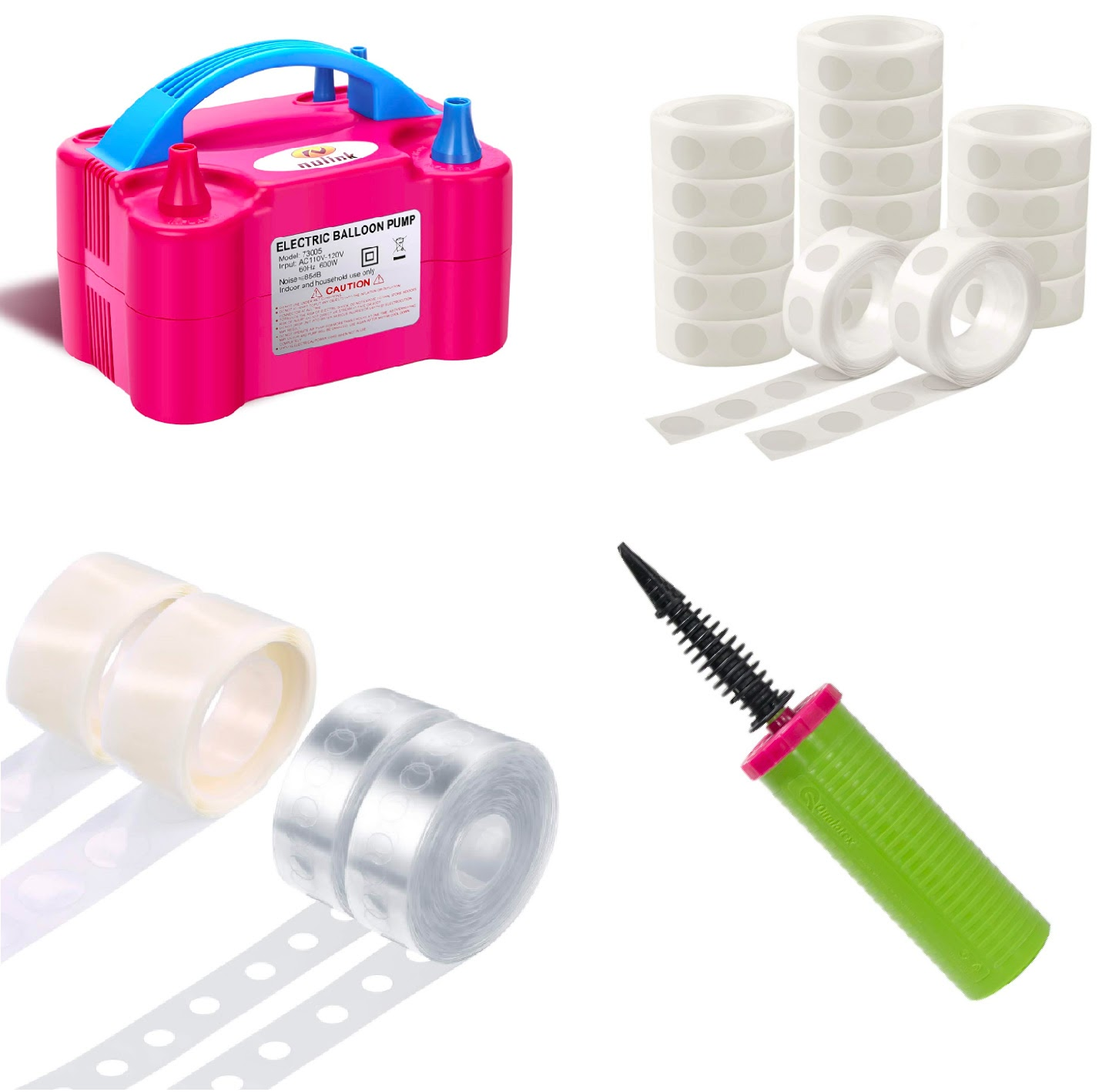 A collage of the supplies you'll need: an electric pump, a hand pump, glue dots, and balloon garland tape