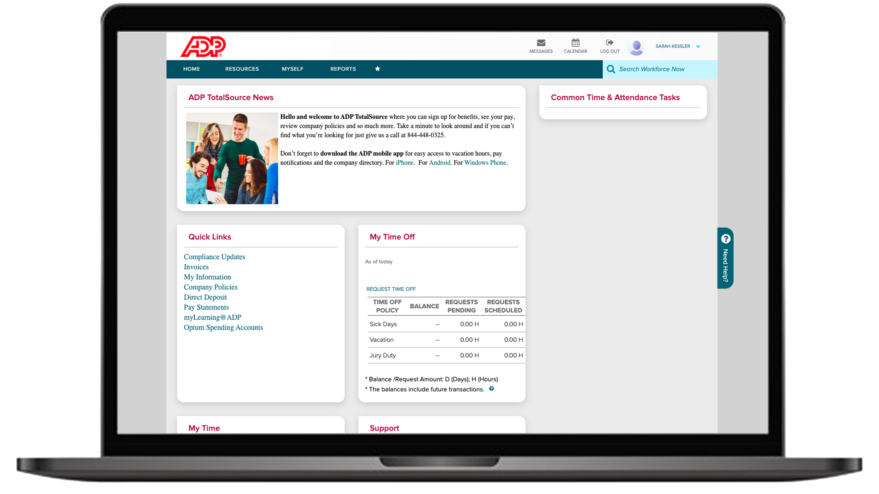 the home screen of ADP Total Source