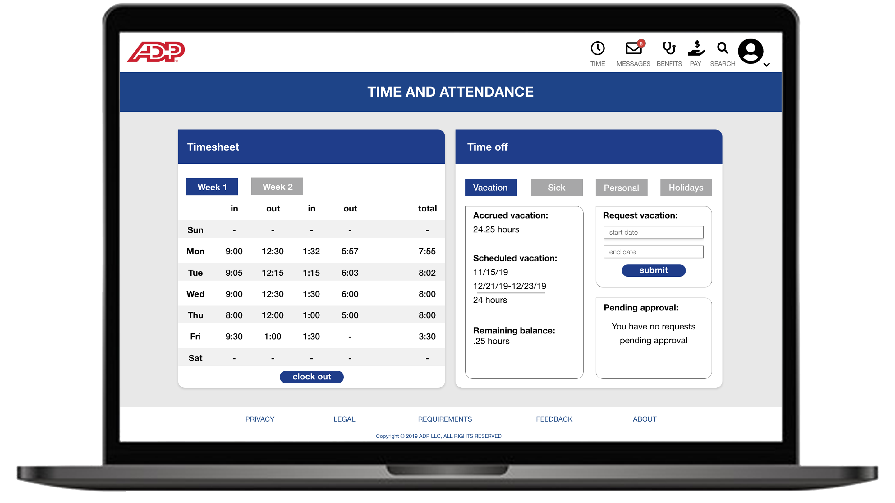 mockup of redesigned time and attendance page