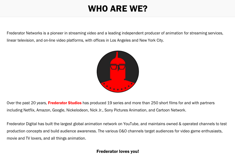 screencap of the about page of frederator.com