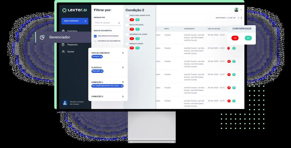 Plataforma da Lexter visualizada dentro de um monitor com elementos em destaque.