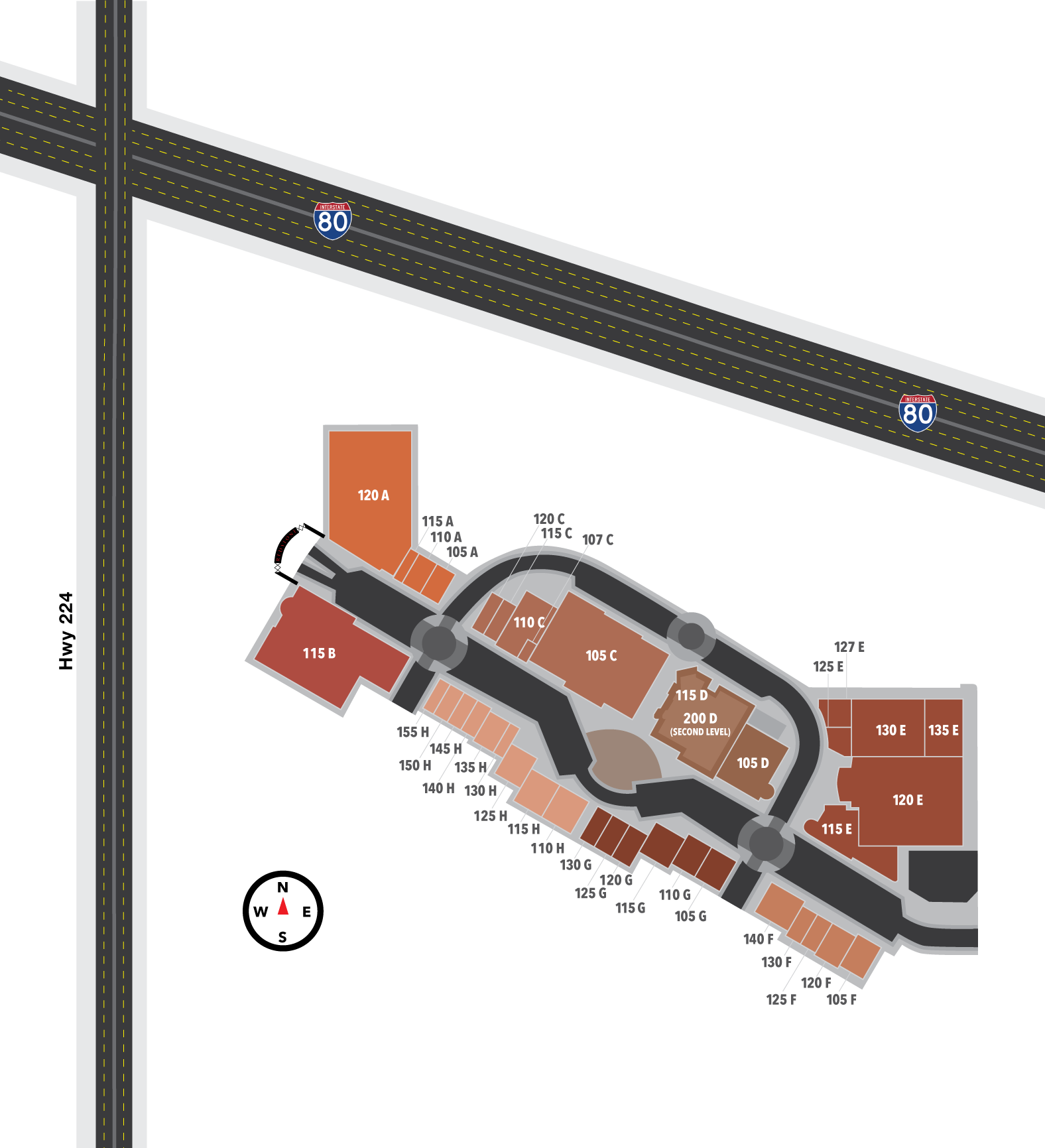 Map of the Redstone Shopping Center, showing locations for dining, shopping, and wellness located in Park City, Utah.
