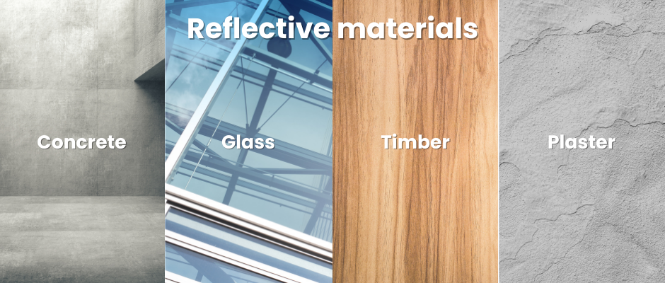 acoustically reflective materials including concrete glass timber and plaster