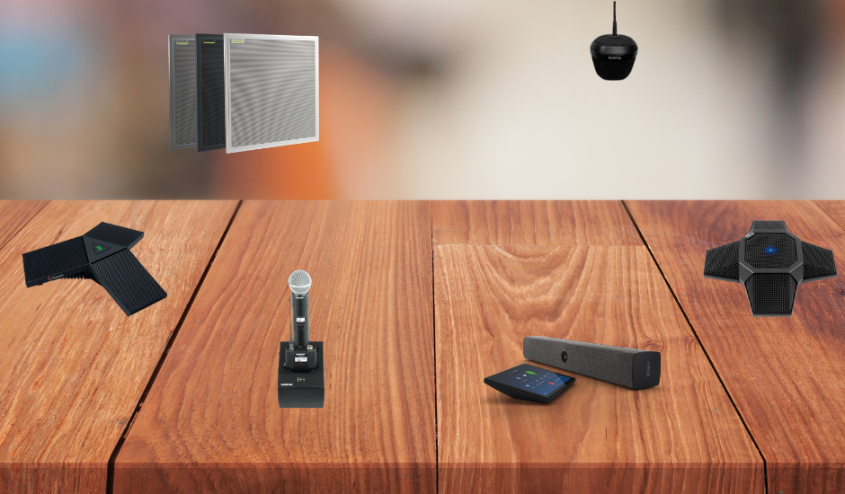 various microphones used for conference rooms on a table