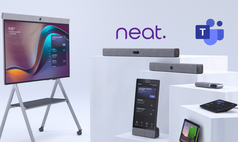 Neat video hardware devices and the Microsoft Teams interface on various devices such as the Neat Board, Neat Bar and Neat Pads