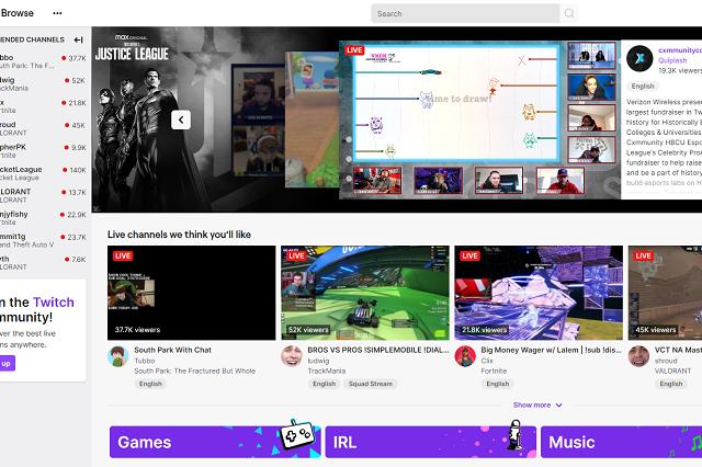 screenshot of twich streaming platform UI