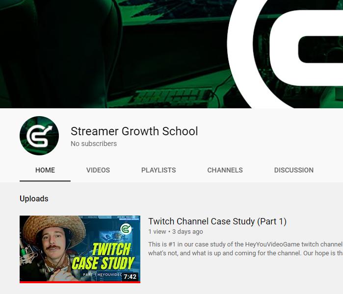 Screenshot of Streamer Growth School YouTube Channel