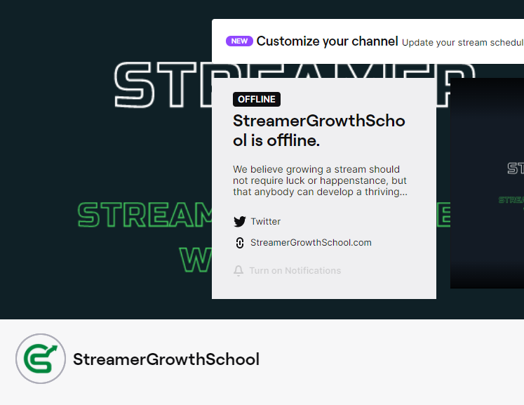 Partial Screenshot of SGS Twitch Channel