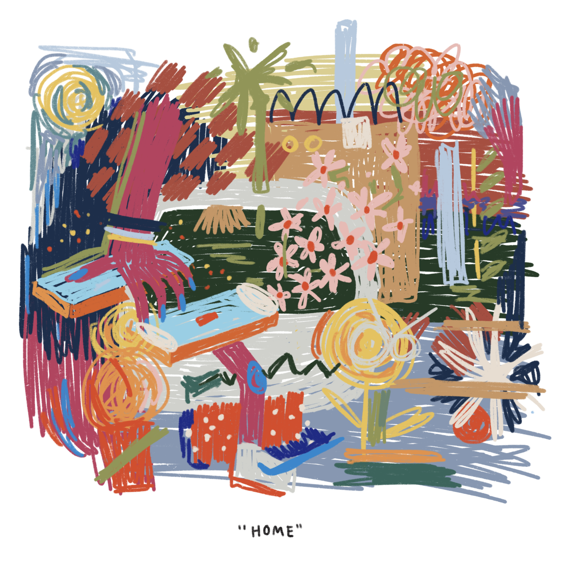 """Abstract illustration with various lines, shapes, and colors labelled """"HOME"""""""