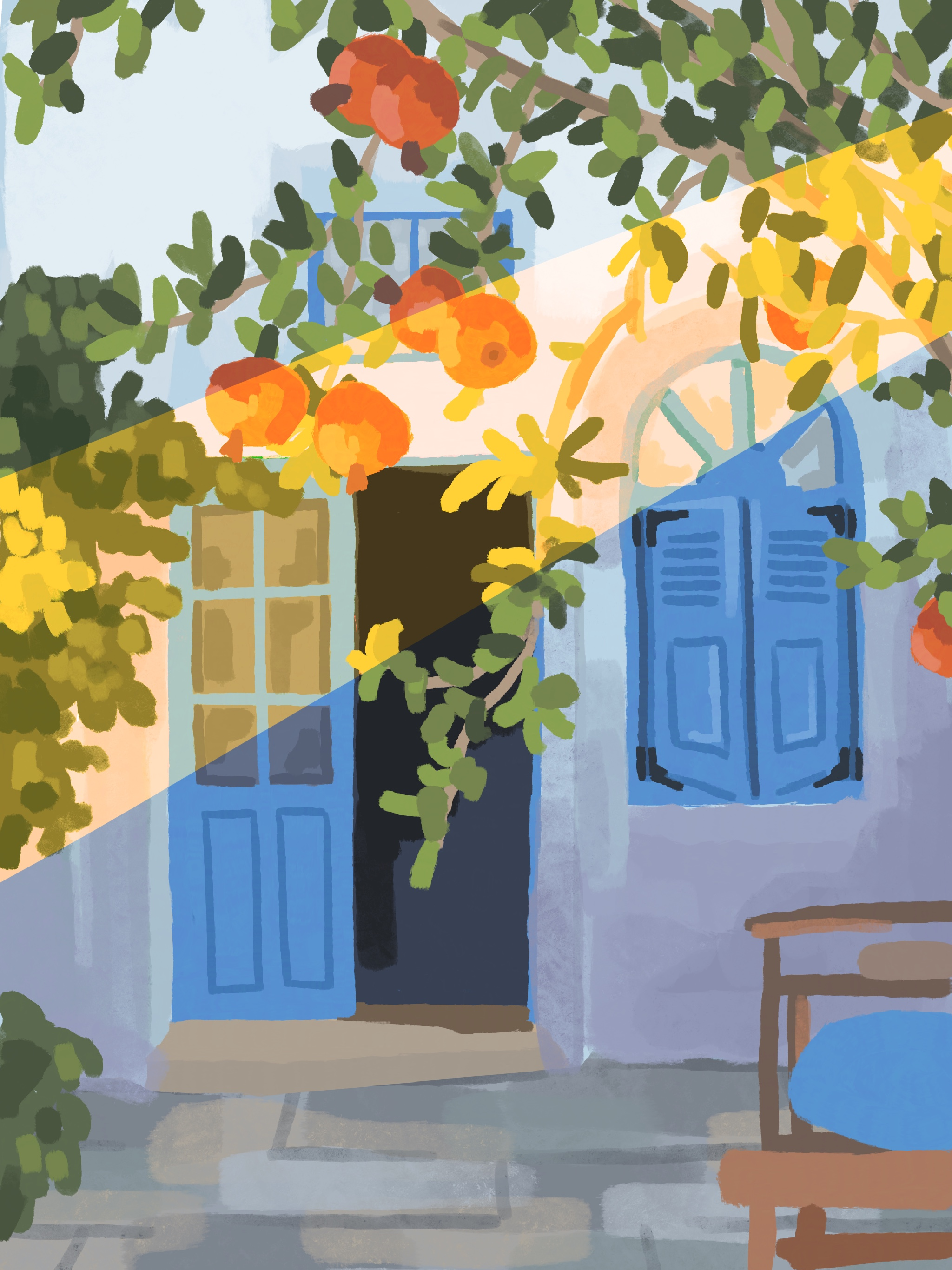 Digital painting of sunlight streaming in front of blue door surrounded by pomegranate tree branches