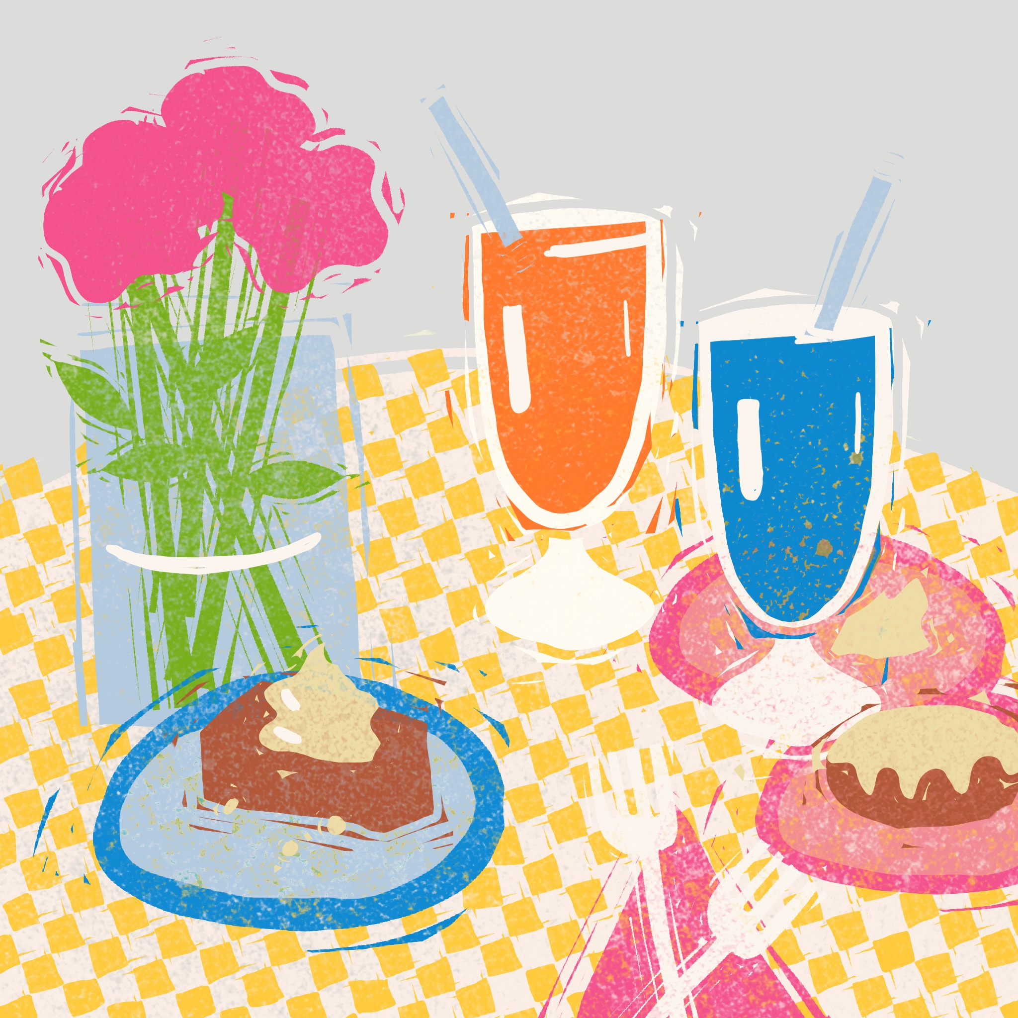 Screen print style illustration of a still life: milkshakes, pastries, and a vase of flower on a yellow checkered tablecloths