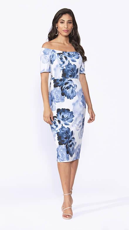 Off the shoulder, stretch printed crepe dress in Glacier floral print