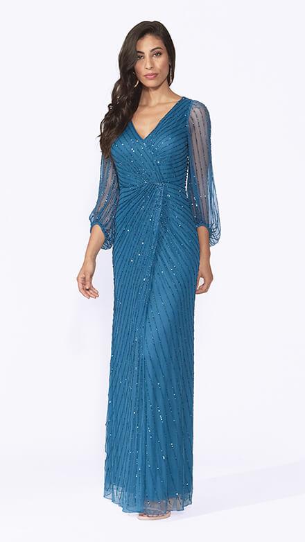 Long peasant sleeve beaded wrap dress