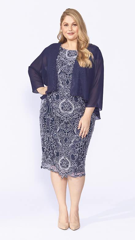 Corded lace dress with 3/4 sleeve chiffon jacket