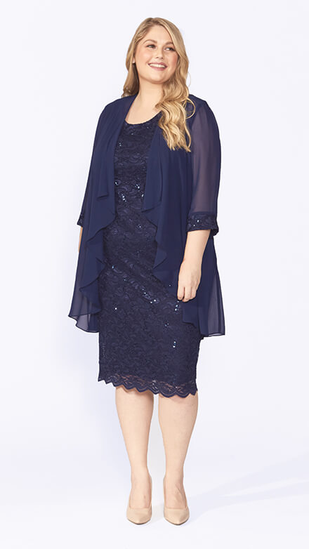 Mid length sequin embroidered dress with scallop hem and 3/4 waterfall jacket and matching embroidered cuffs