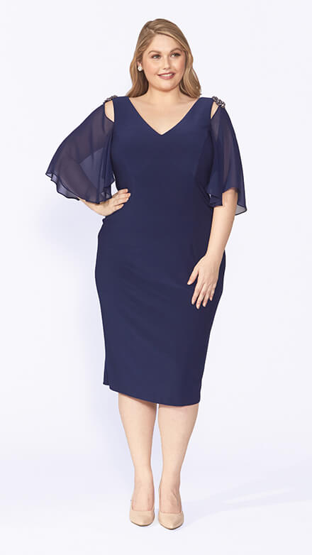 Knee length stretch dress with flounced chiffon sleeve and diamanté shoulder trim
