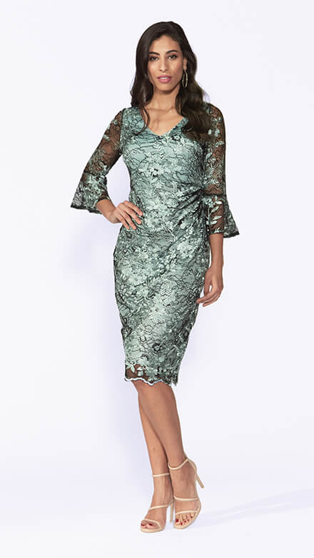 Mid length soft lace dress with bell sleeves and ruching at waistline