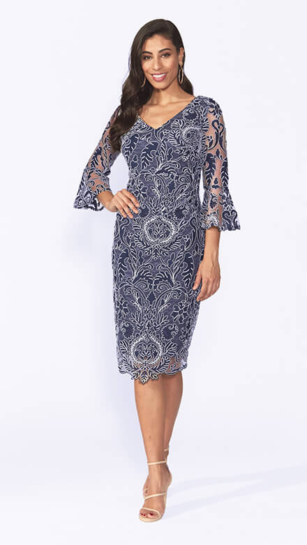 Cocktail corded lace dress with beautiful bell sleeves