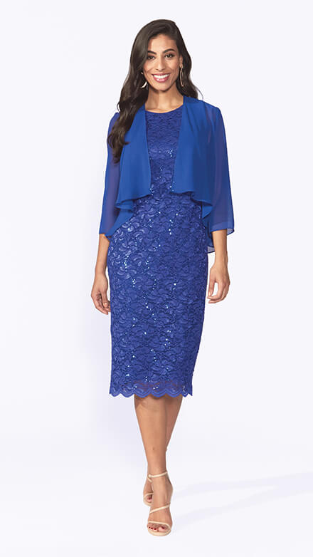 Mid length stretch embroidered sequin dress with scallop hemline and chiffon jacket