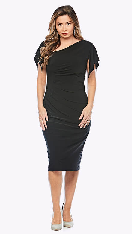 Asymmetrical mid length dress with ruched bodice