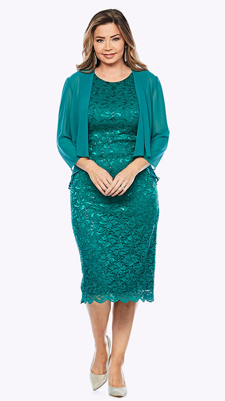 Mid-length stretch embroidered sequin dress with scallop hemline and chiffon jacket