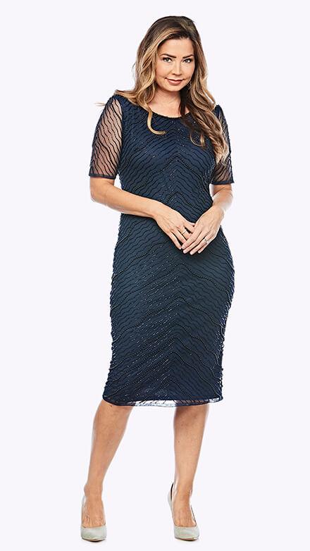 Mid-length beaded chiffon dress with full sleeve