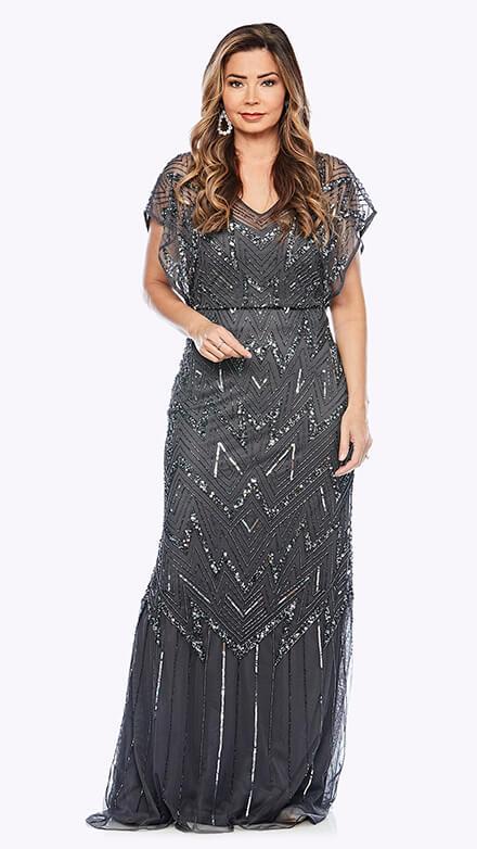 Full-length blouson style beaded gown in geometric pattern
