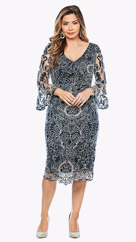 Corded lace cocktail dress with beautiful bell sleeves
