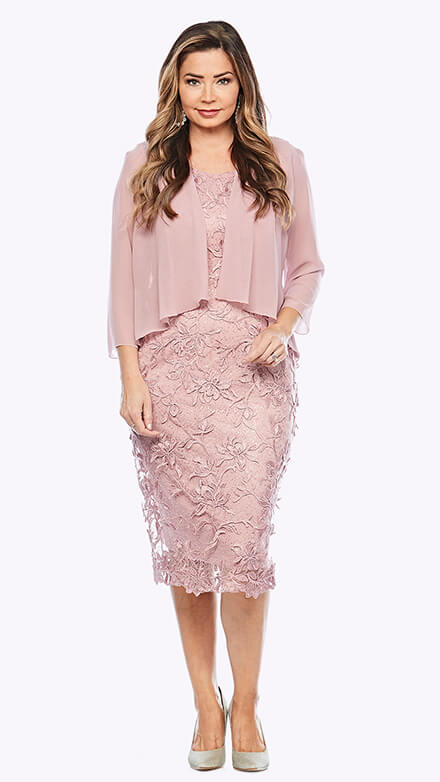 Embroidered lace dress with 3/4 sleeve chiffon jacket