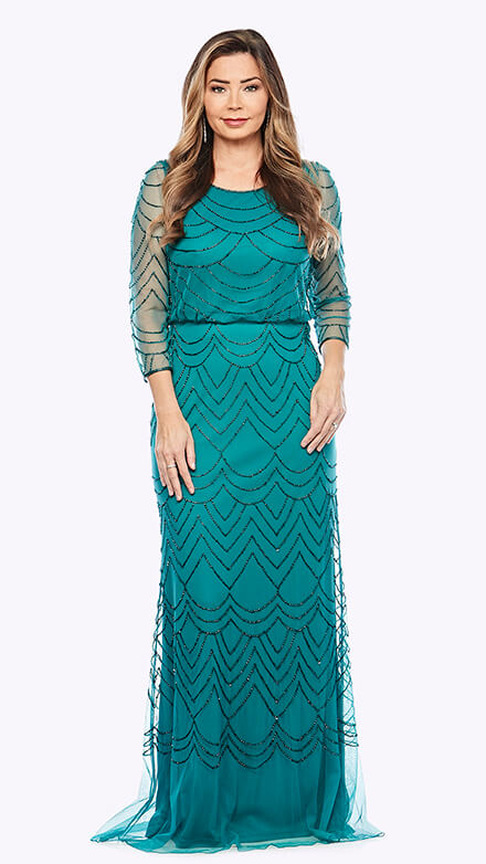 Full length 3/4 sleeve blouson style beaded gown in a scallop pattern