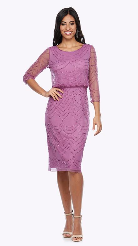 Mid-length 3/4 sleeve blouson style beaded dress in scallop pattern
