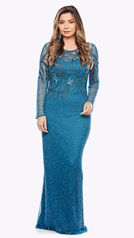 Full-length long sleeve beaded gown in organic floral pattern