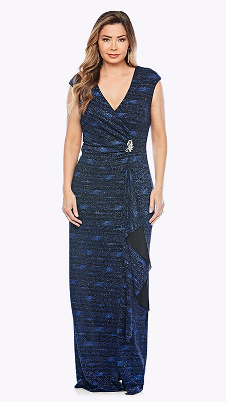 Shimmer wrap style cocktail dress with brooch detail