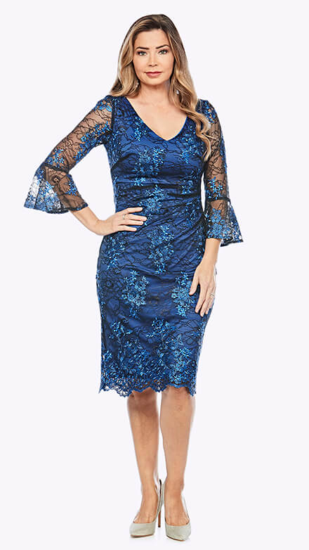 Lace cocktail dress with beautiful bell sleeves