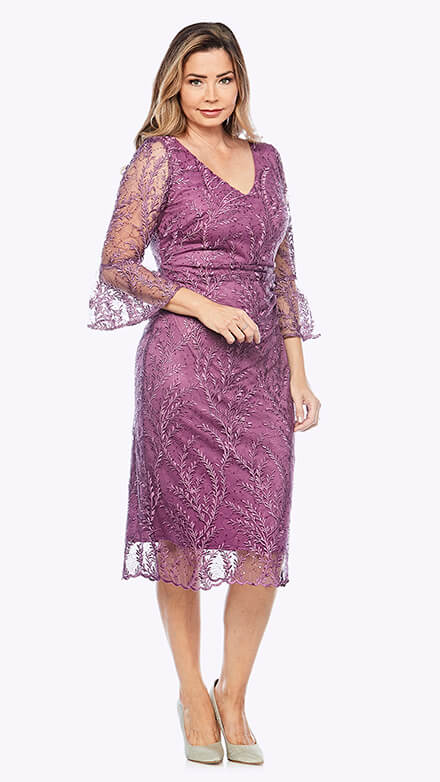 Lace cocktail dress with bell sleeves in organic floral pattern