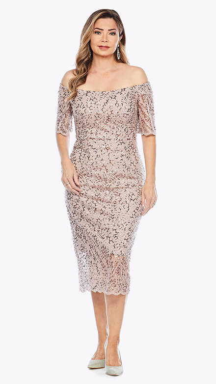 Off the shoulder cocktail dress with scalloped hemline in sequinned lace