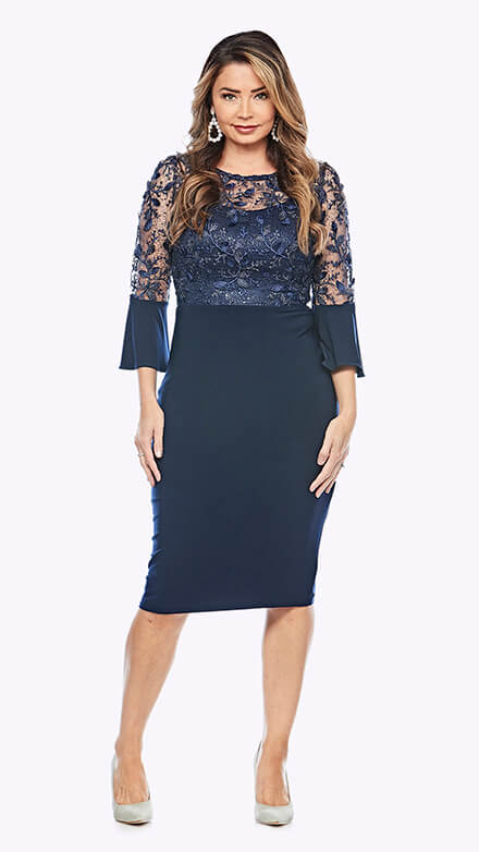 Lace cocktail dress with bell sleeves and stretch jersey skirt
