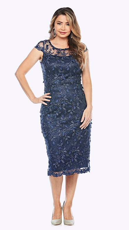 Sequin embroidered lace shift style dress with sweetheart neckline and sheer cap sleeve