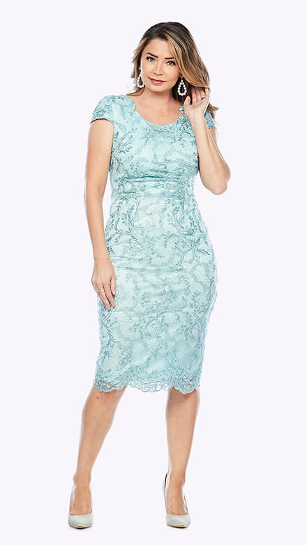 Mid-length embroidered lace dress with ruched bodice and cap sleeve