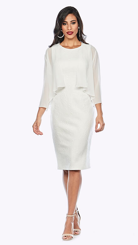 Mid-length stretch embroidered dress and chiffon jacket