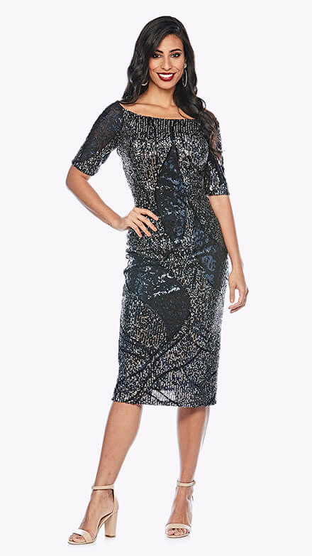 Beaded mid-length dress with short sleeve and boat neckline