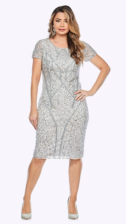 Mid-length dress in geometric beaded design with short sleeve