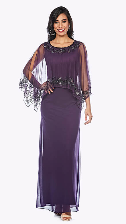 Full-length gown with chiffon overlay and beaded trim