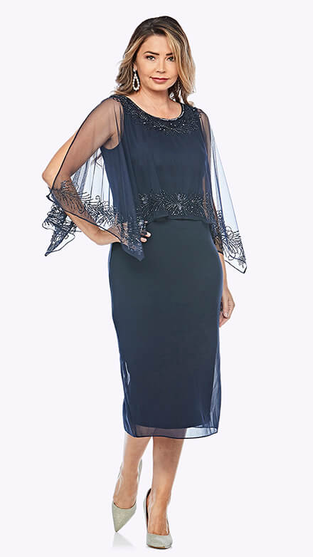 Mid-length dress with chiffon overlay and beaded trim