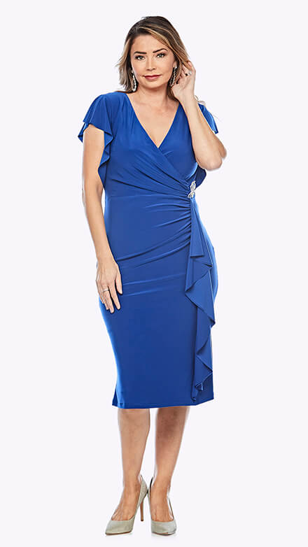 Mid-length dress with waterfall style wrap skirt and flowy cap sleeve