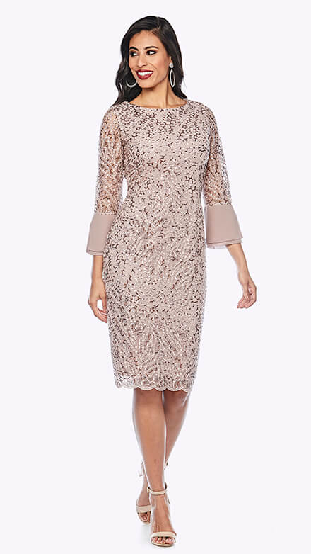 Sequin lace mid-length dress with scallop hem and 3/4 sleeves