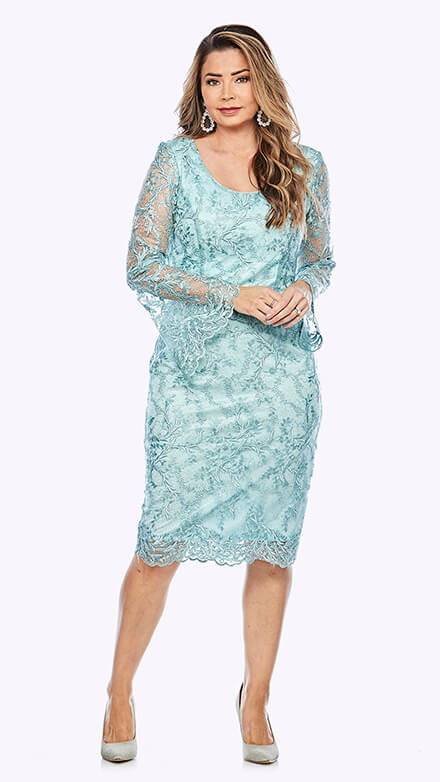 Mid-length lace dress with beautiful bell sleeves
