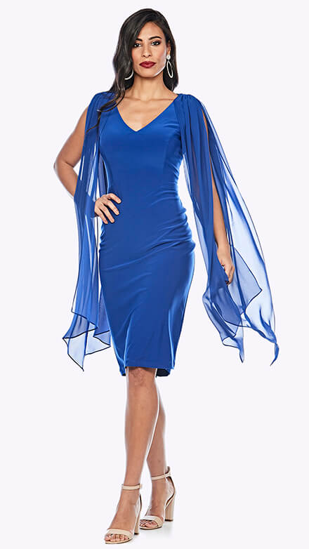 Stretch V neck dress with flowy chiffon overlay