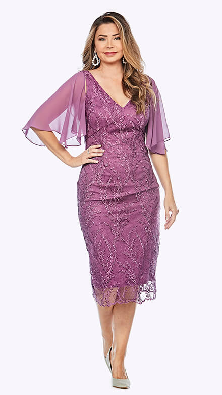 Embroidered lace V neck dress with flounced chiffon sleeve