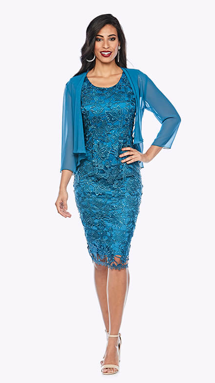 Embroidered sequin lace dress with 3/4 sleeve chiffon jacket